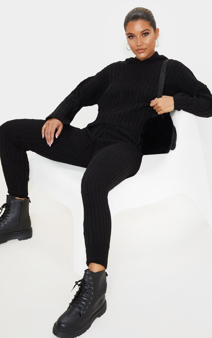 Black Cable Knitted Hooded Lounge Set 4