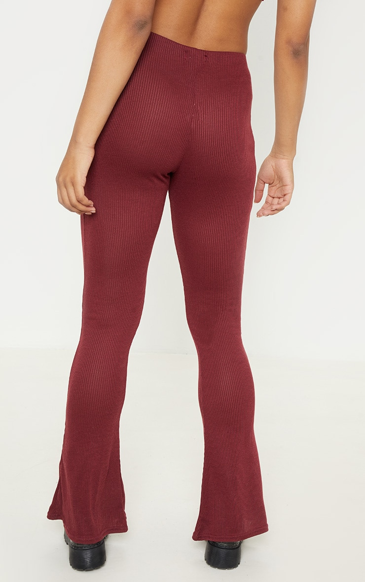 Tall Burgundy Ribbed Flared Trouser  4