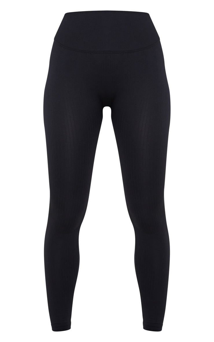 Black Ribbed Seamless Sports Legging 3
