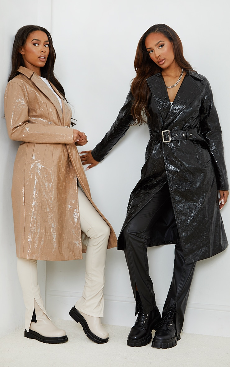 PRETTYLITTLETHING Black Vinyl Embossed Monogram Trench 1