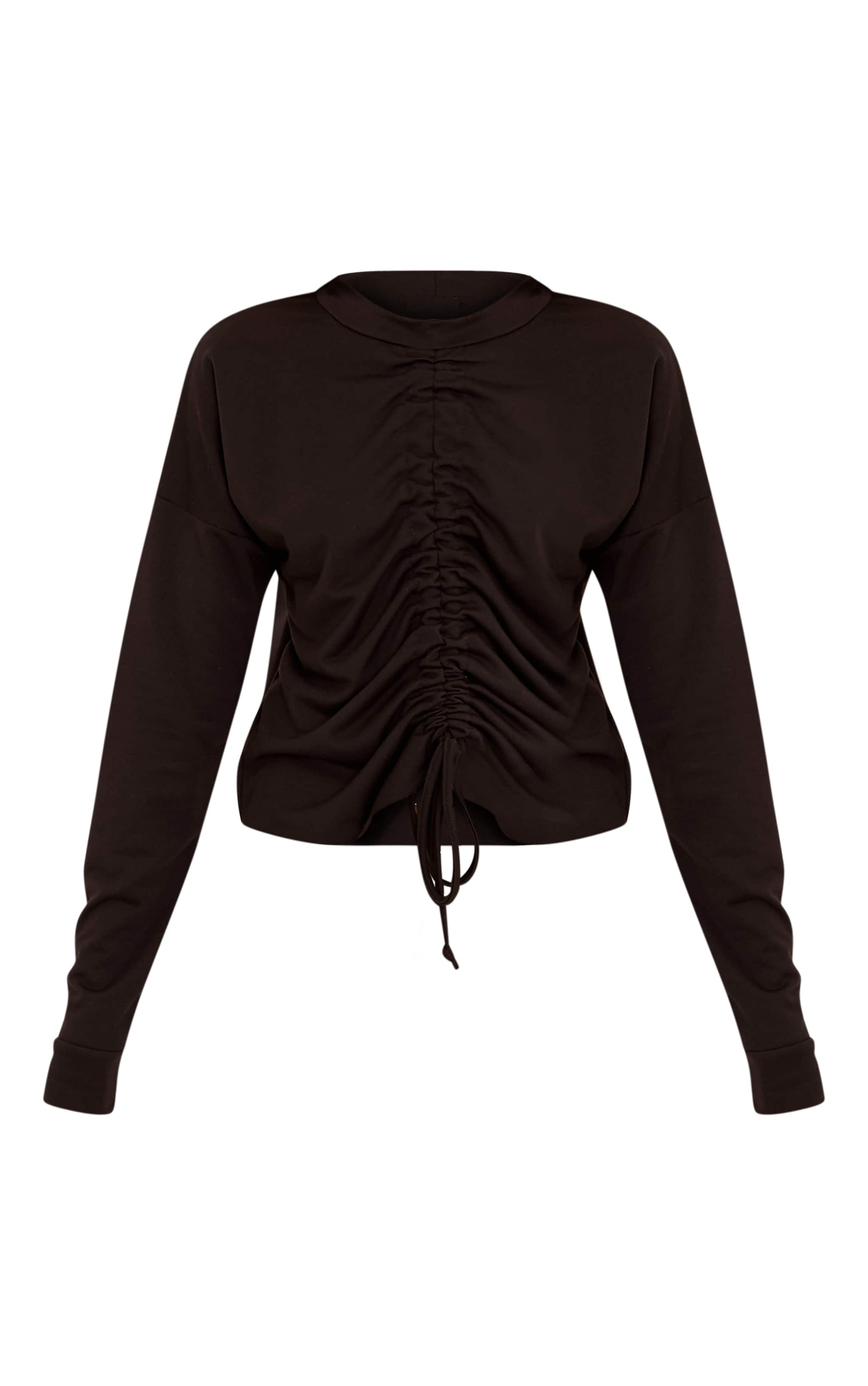 Ione Black Ruched Crop Longsleeve Sweater 3