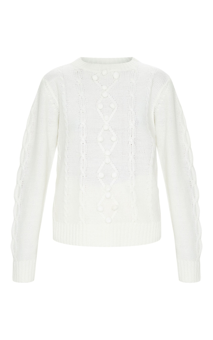 Cream Pom Pom Detail Cable Knitted Jumper 3