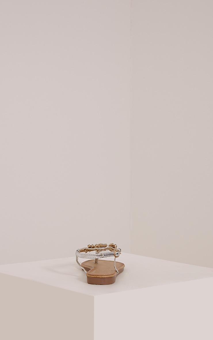 Samiria Silver Metallic Jewel Detail Sandals 4