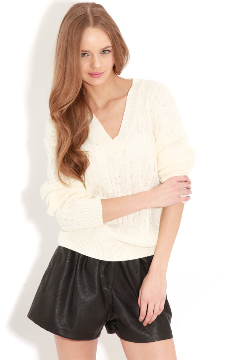 Raveena White V Neck Cable Knit Sweater 1