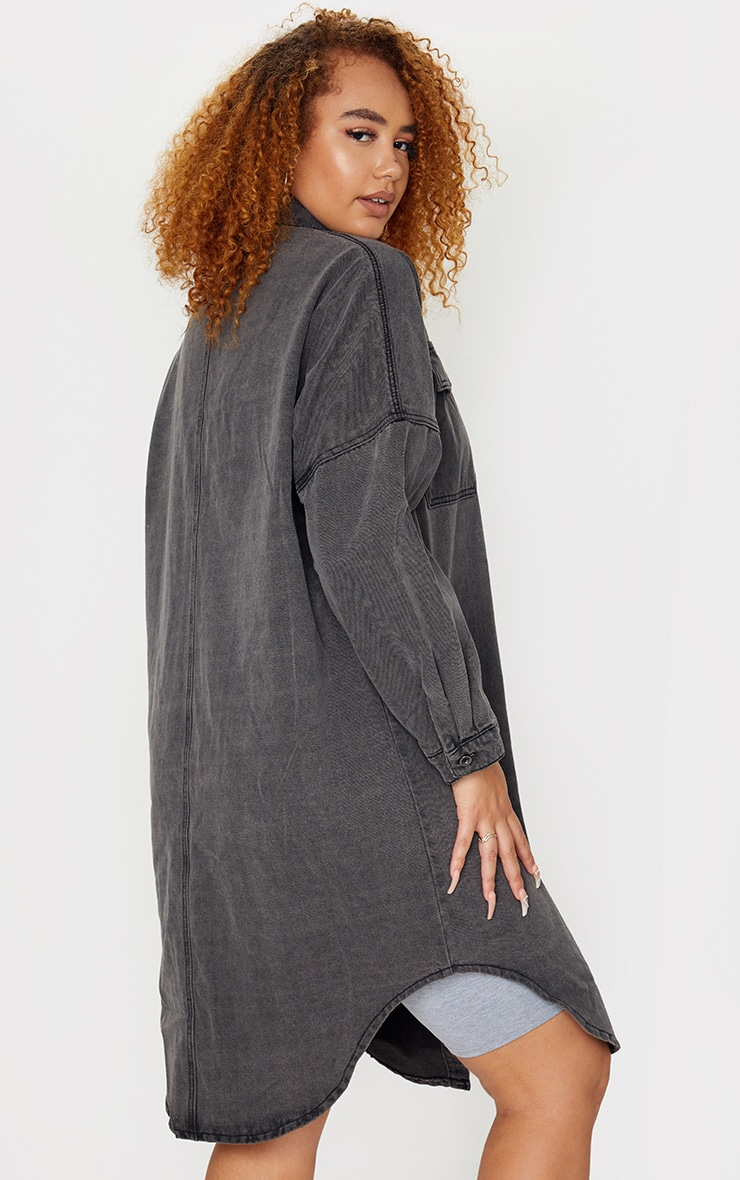 Plus Washed Black Longline Oversized Denim Shirt 2