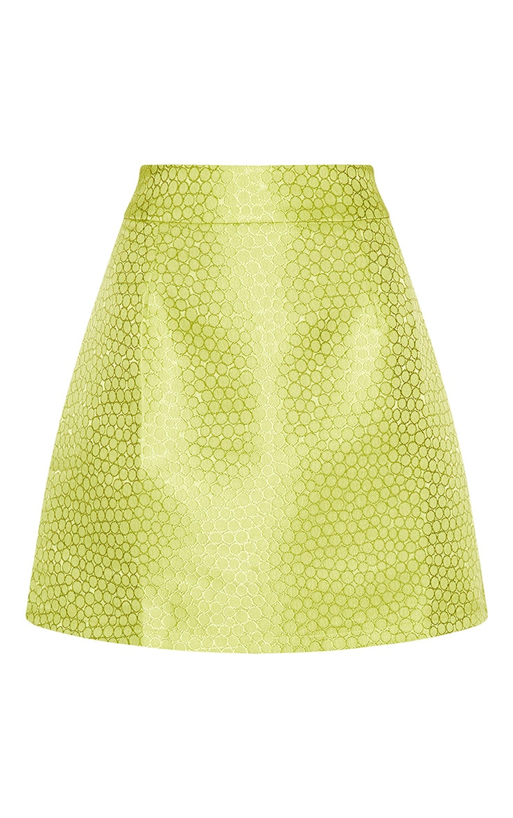 Lime Green Jacquard High Waisted Skirt 4