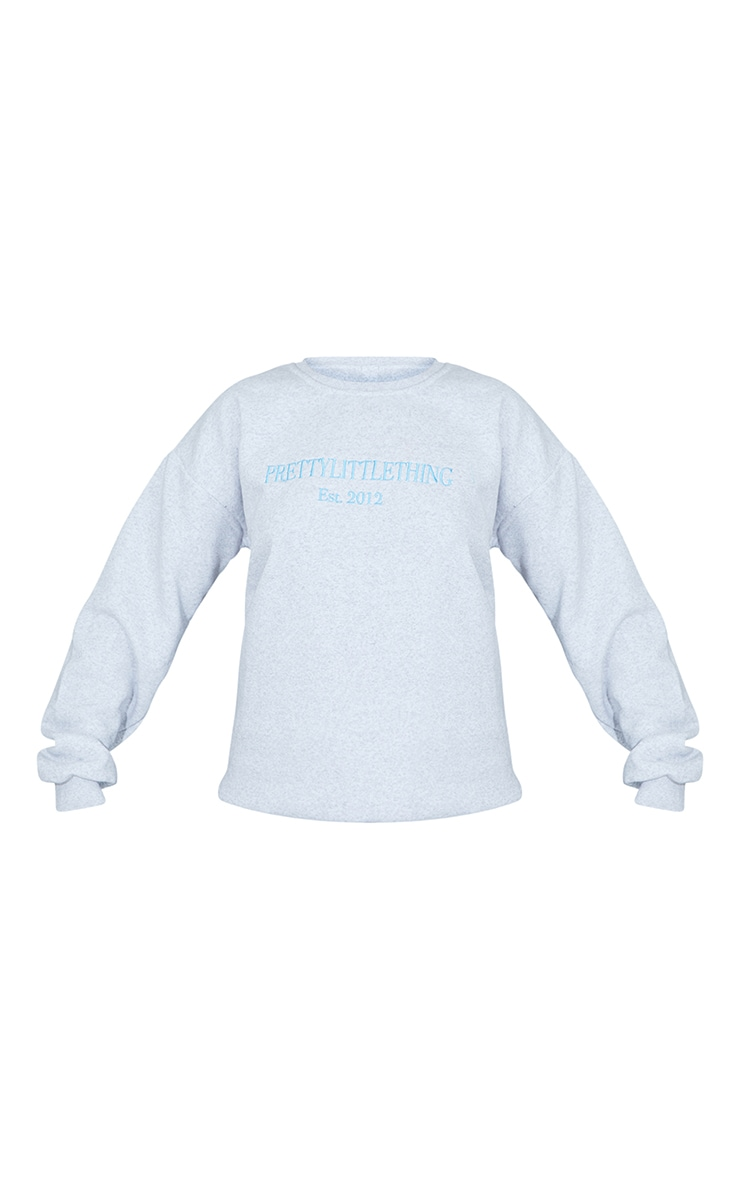 PRETTYLITTLETHING Ash Grey 2012 Slogan Embroidered Sweatshirt 5
