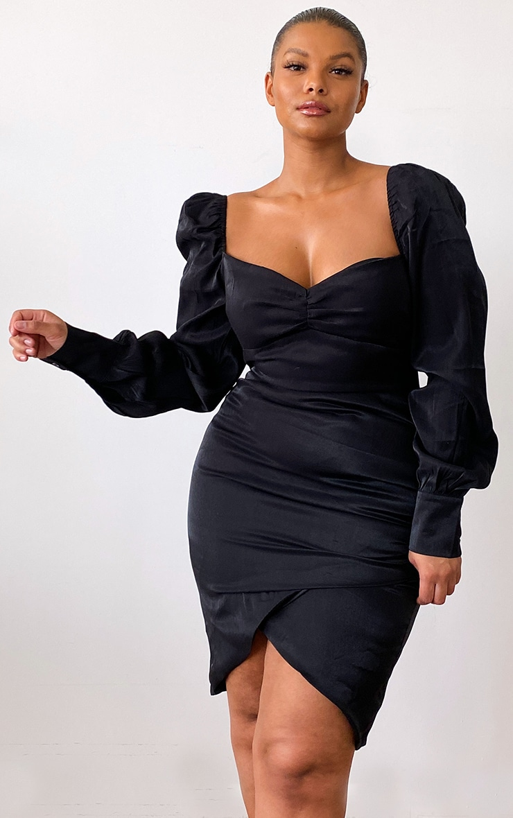 Plus Black Shimmer Ruched Detail Puff Sleeve Bodycon Dress 1