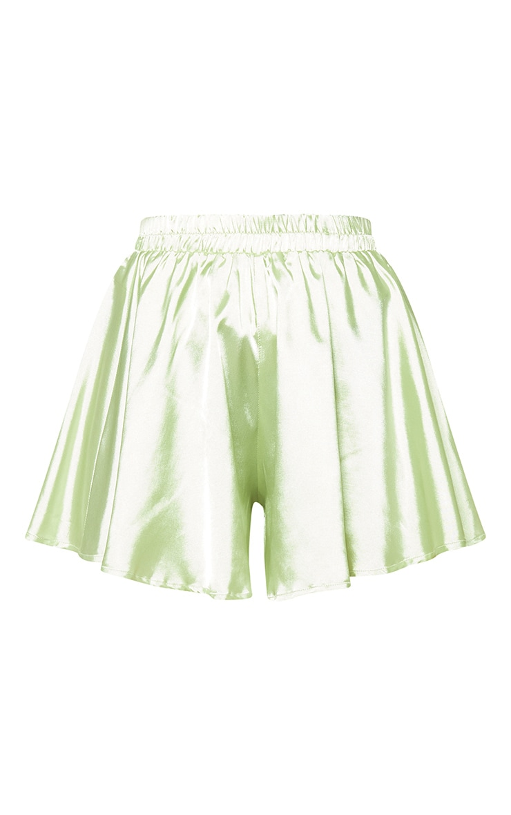 Petite Light Lime Floaty Satin Shorts  3