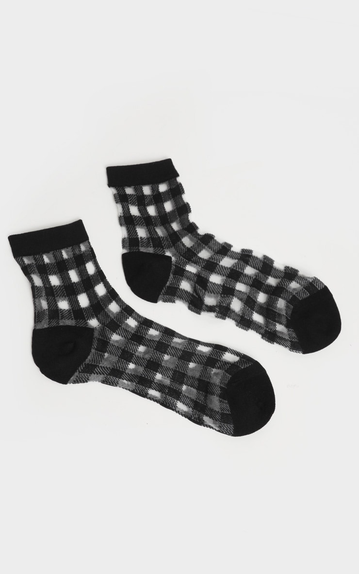 Black Check Sheer Socks 3