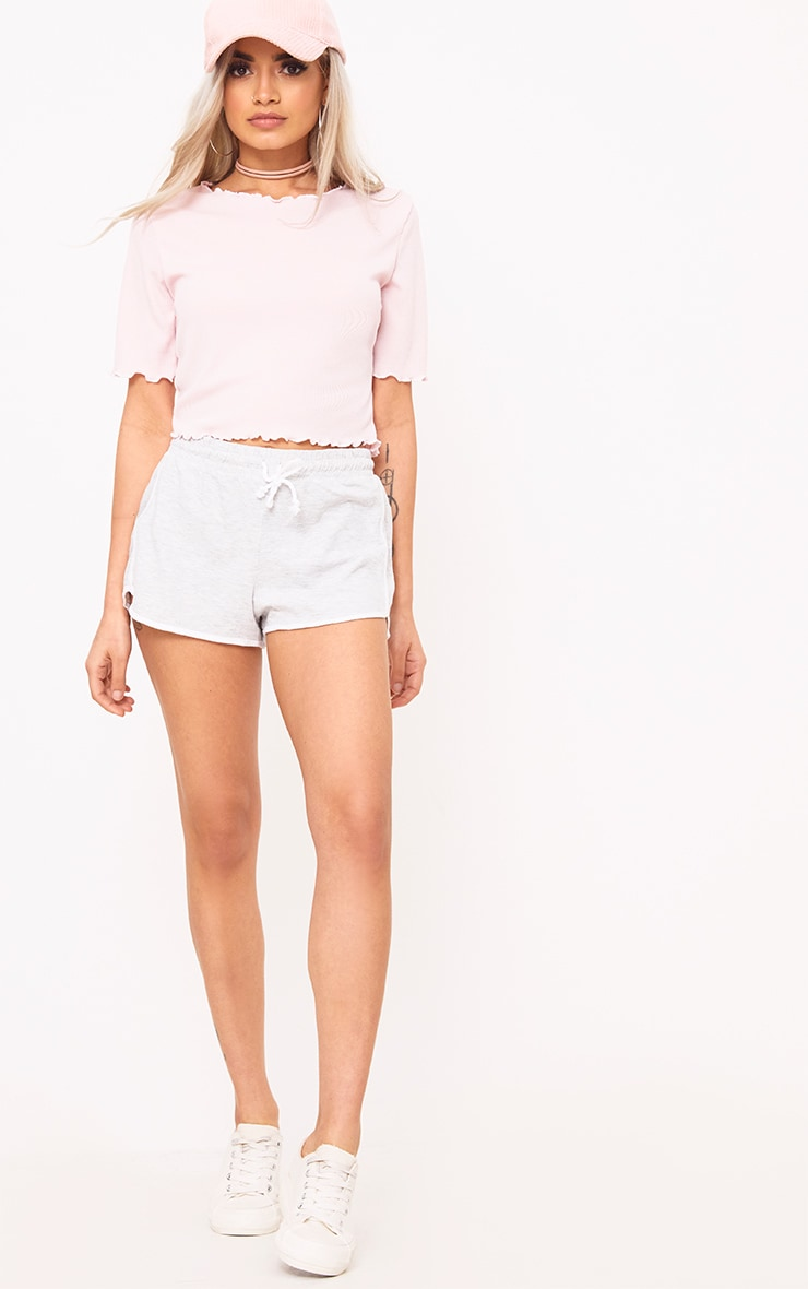 Baby Pink Frill Contrast Edge Crop Top 4