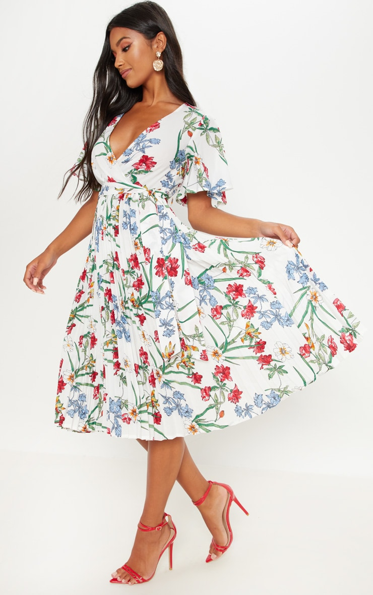 White Floral Pleated Midi Dress 1