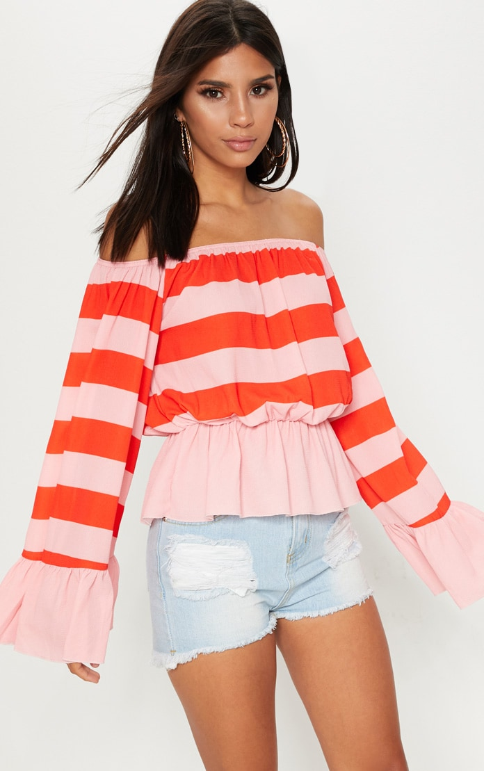 Pink Stripe Flare Bardot Sleeve Top 1