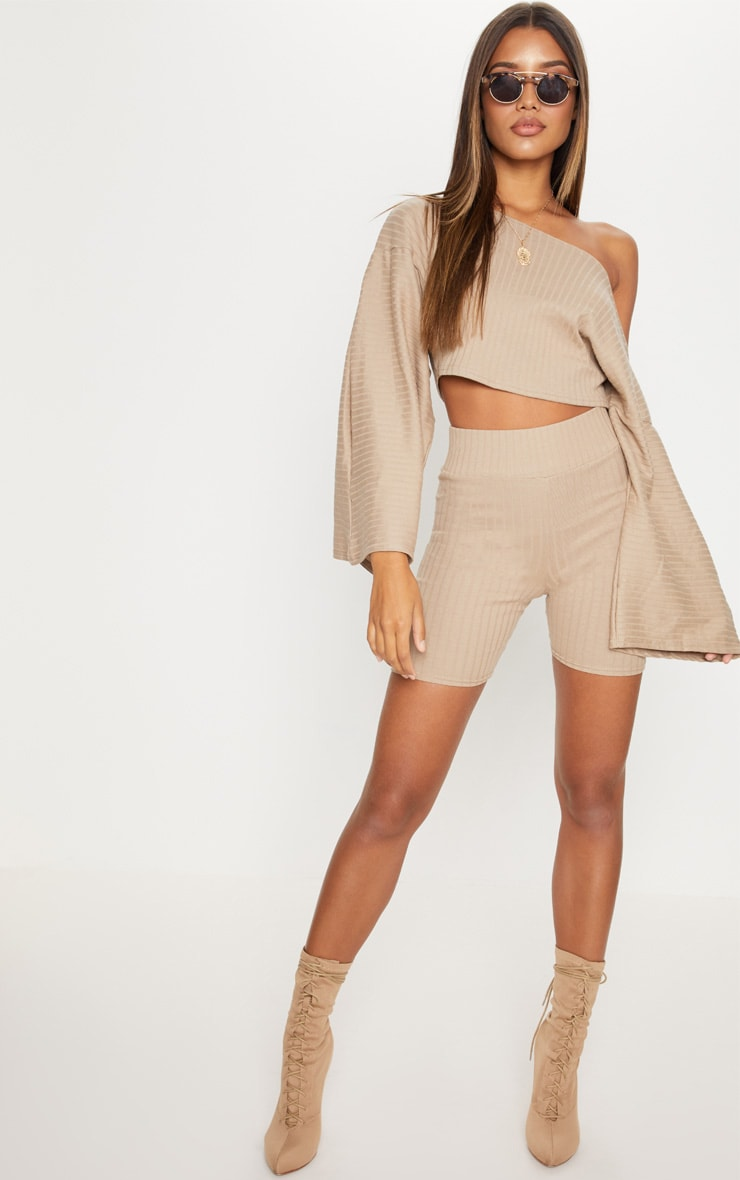 Taupe Rib High Waisted Cycling Shorts 5