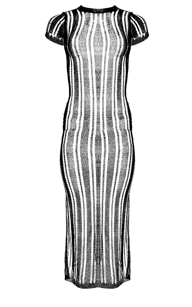 Robe longue en maille métallisée noire 3