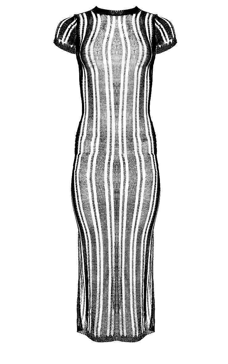 Black Metallic Knitted Midaxi Dress 3