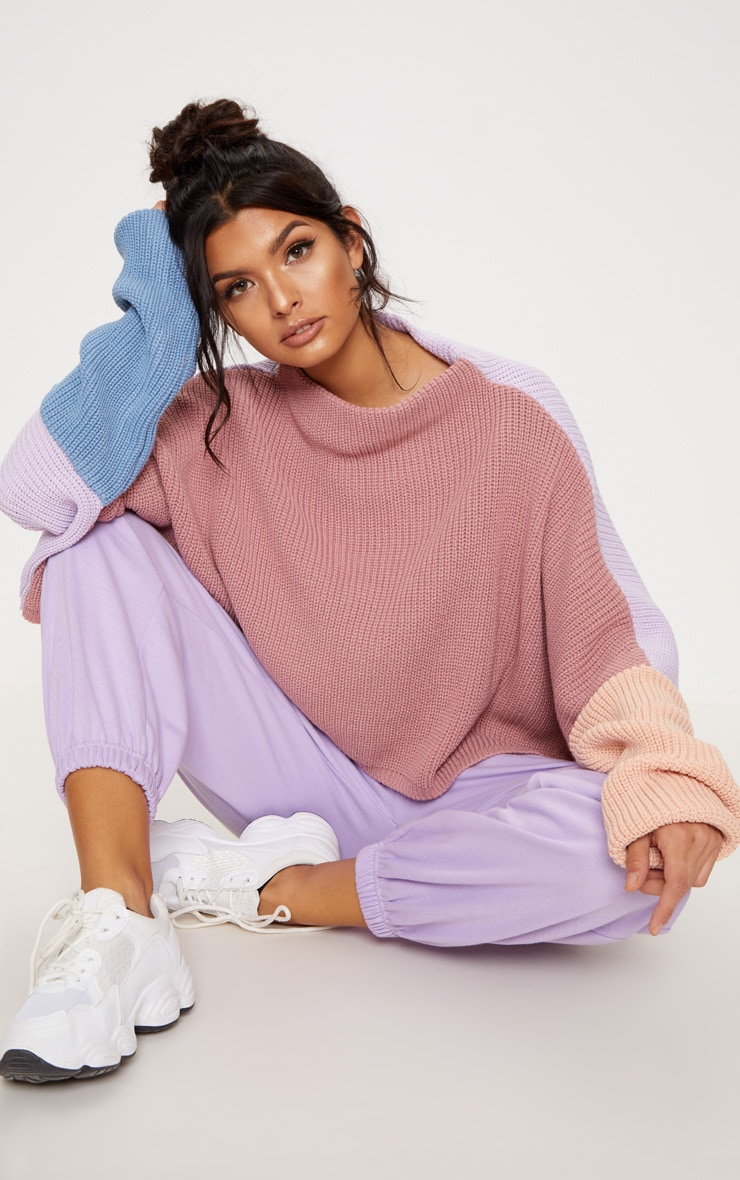 Pink Oversized Colour Block Sweater 1