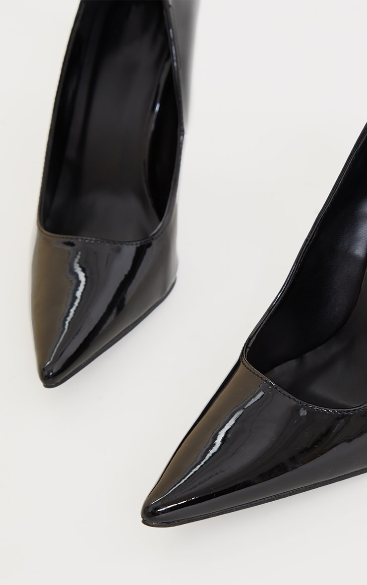 Black Patent Pointed Heeled Courts 3