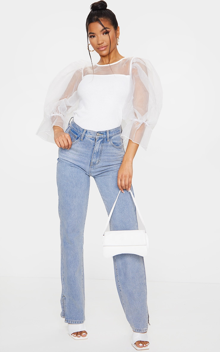 White Organza Mesh Long Top 3