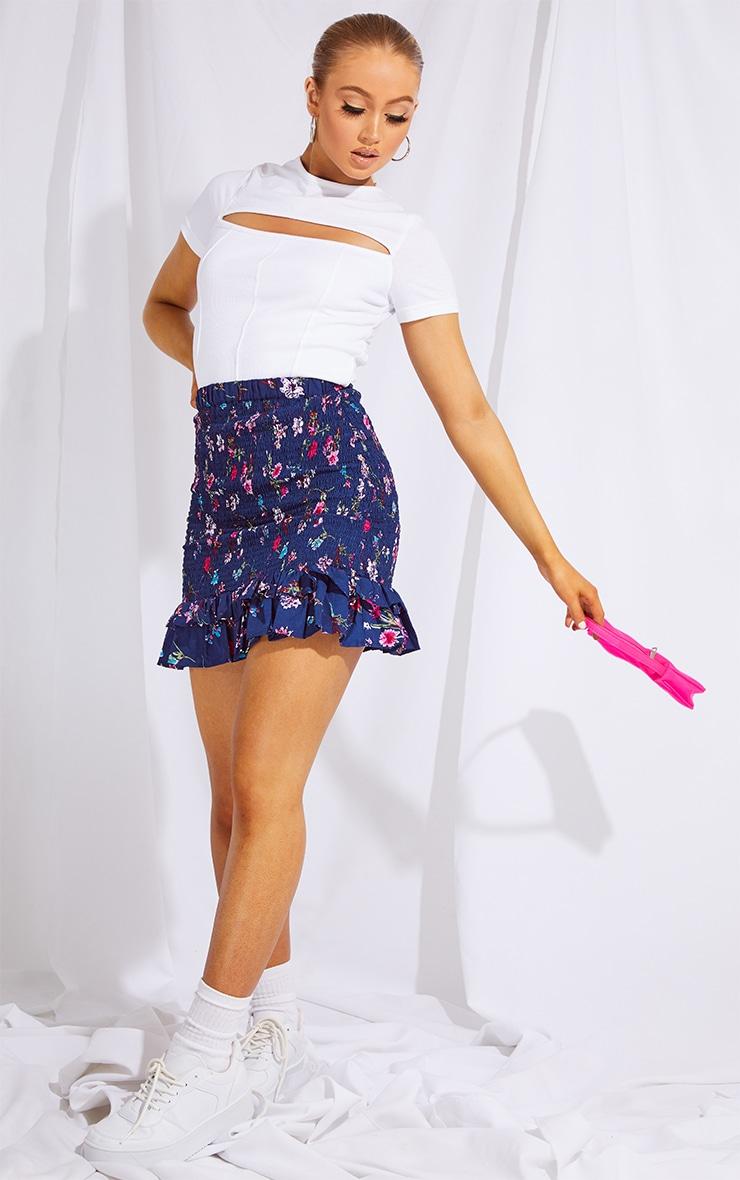 Navy Woven Shirred Frill Hem Mini Skirt 4