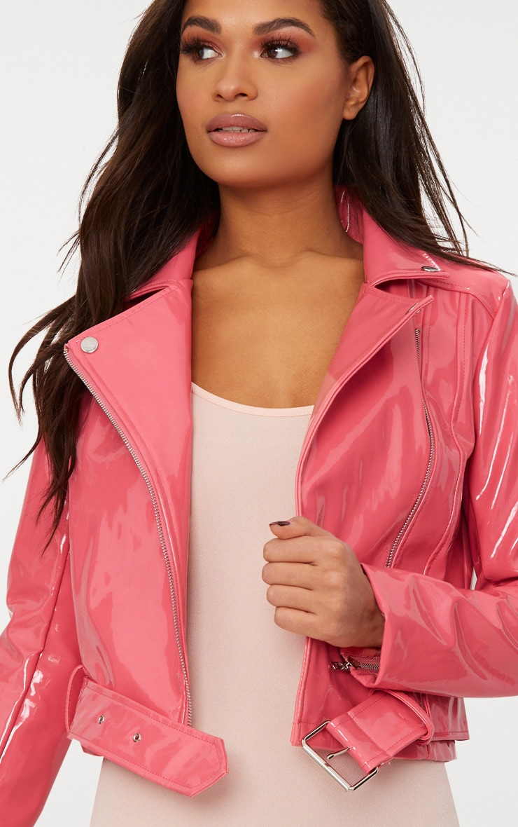 Pink High Shine Vinyl Biker Jacket 5