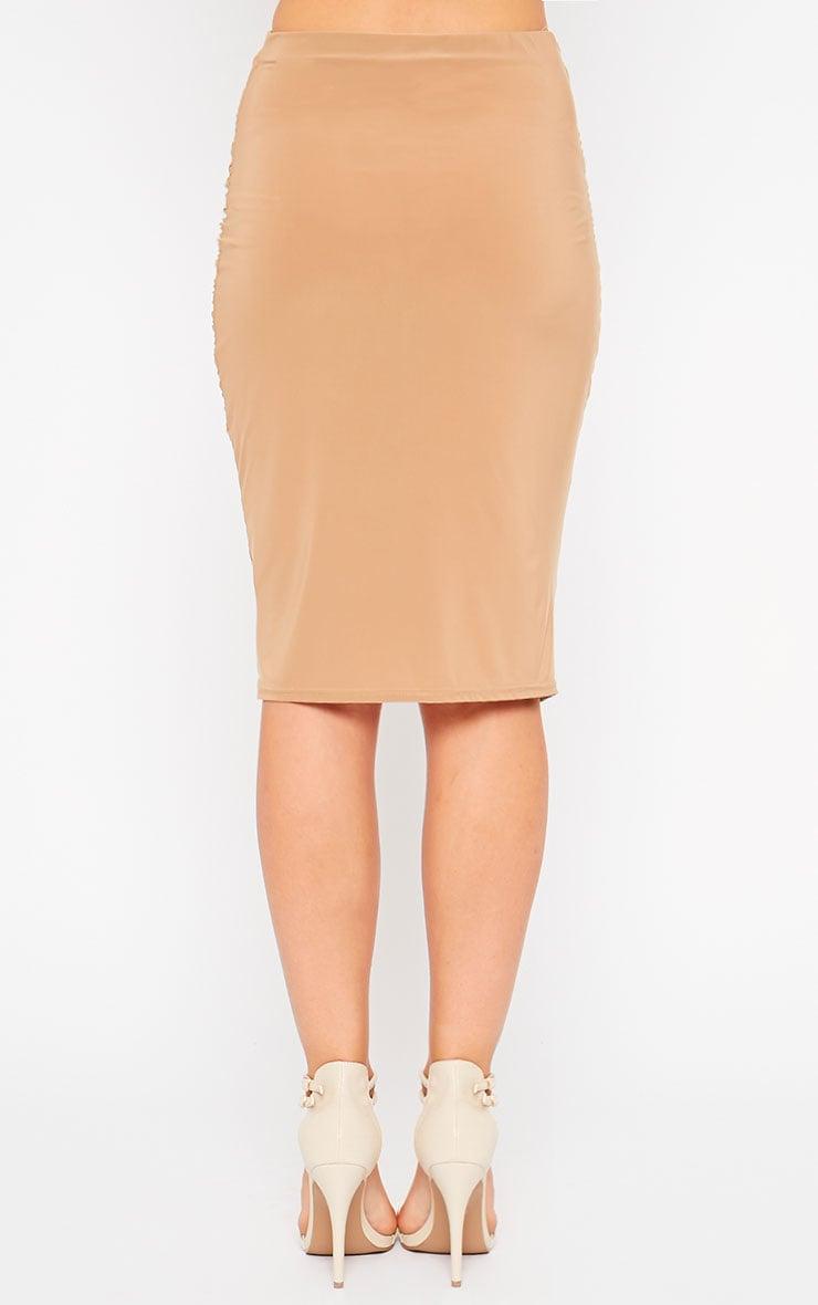 Gina Camel Slinky Ruched Detail Midi Skirt 4