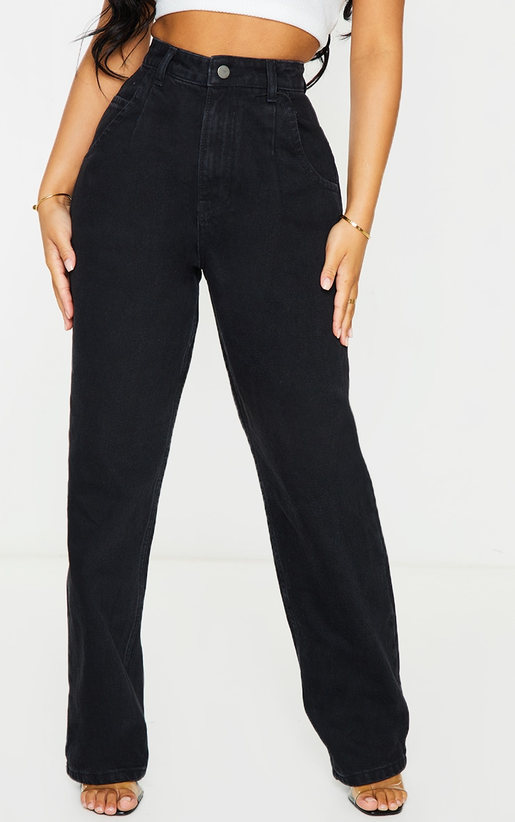 Petite Washed Black Seam Detail Wide Leg Jeans 2