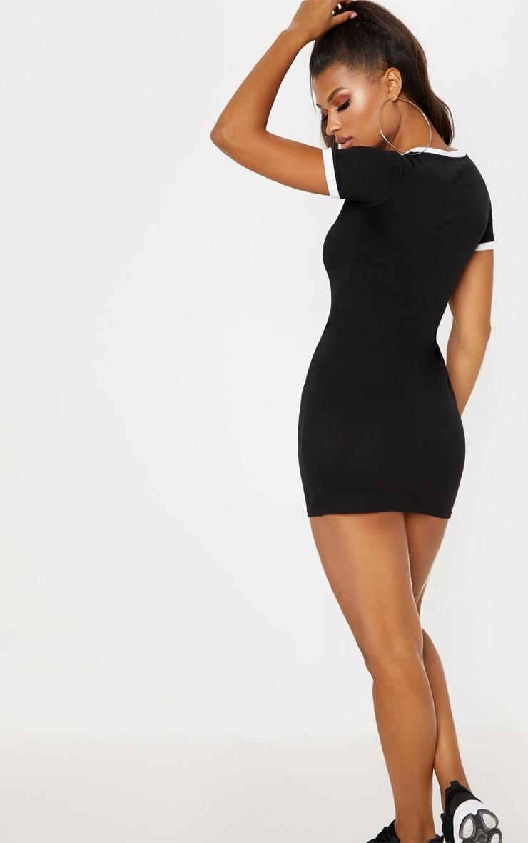 Black Contrast Trim V Neck T Shirt Dress 2