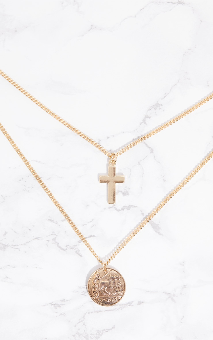 Gold Coin Chunky Cross Double Layer Necklace 3