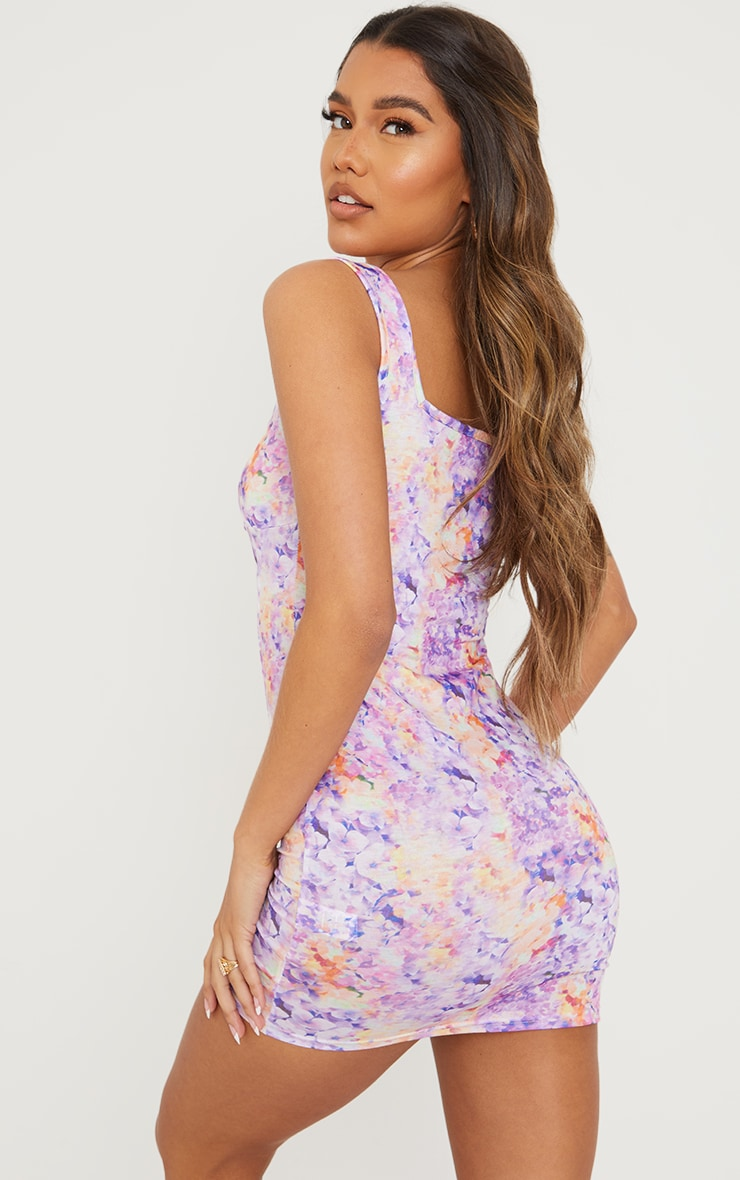 Lilac Ditsy Print Lace Up Bust Detail Shift Dress 2