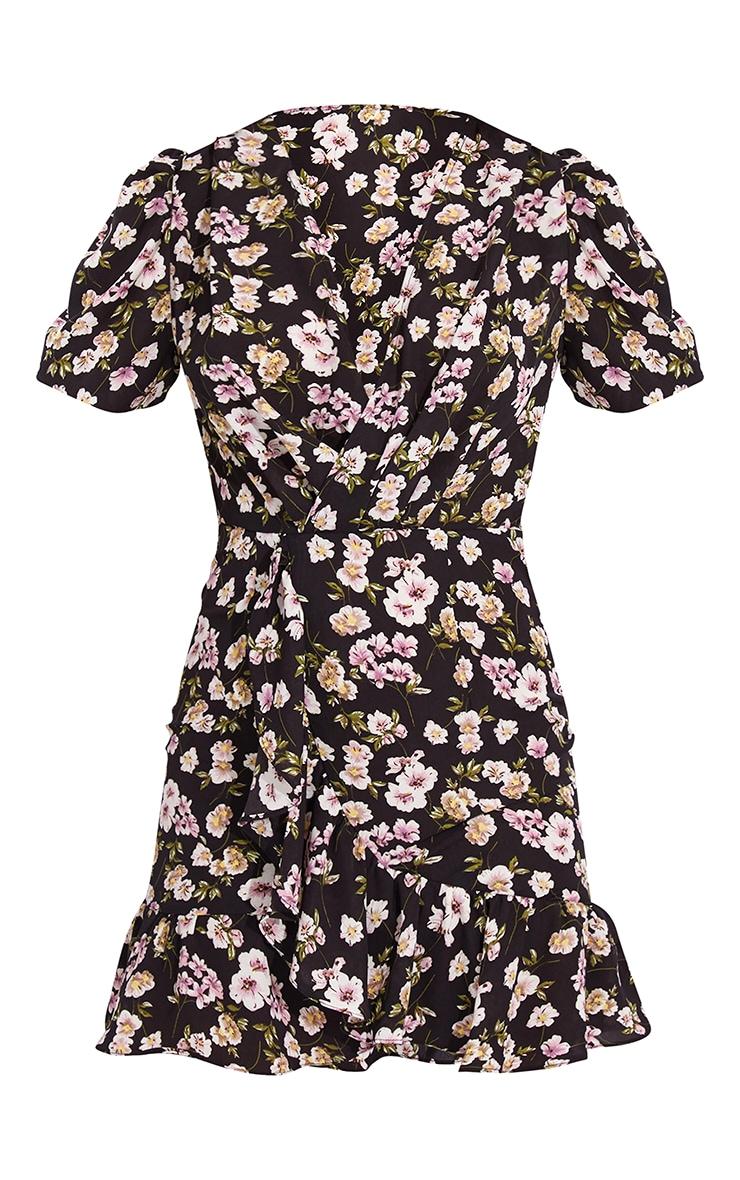 Black Floral Print Wrap Frill Hem Tea Dress 5