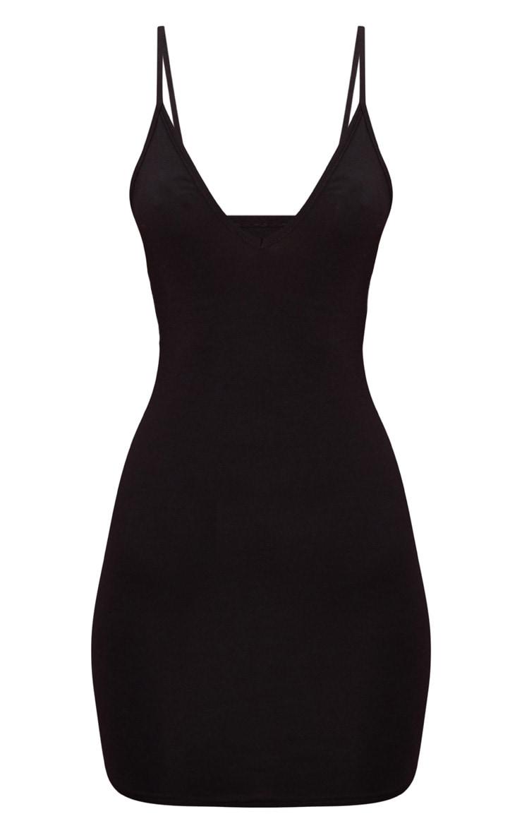 Basic Black Extreme Plunge Strappy Bodycon Dress 1