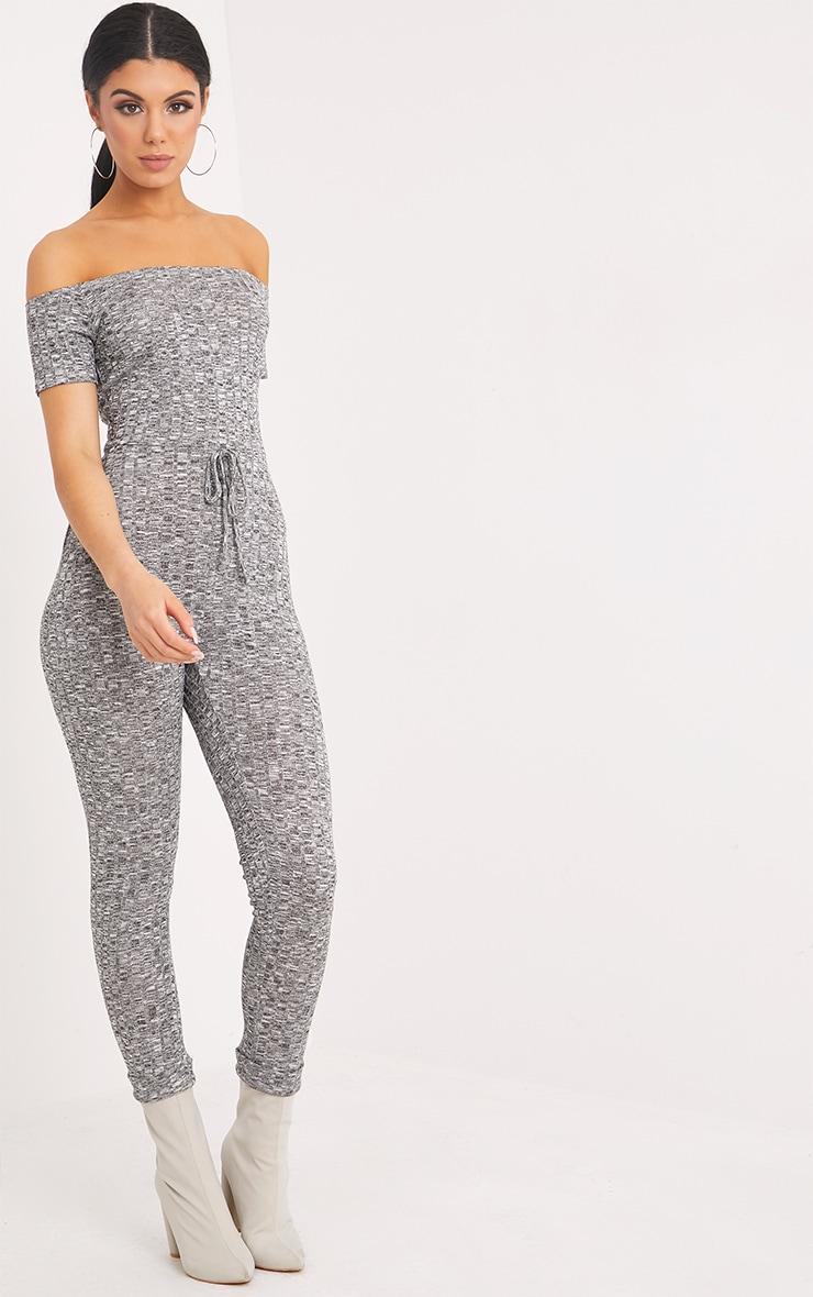 Farrah Grey Bardot Knitted Jumpsuit  4