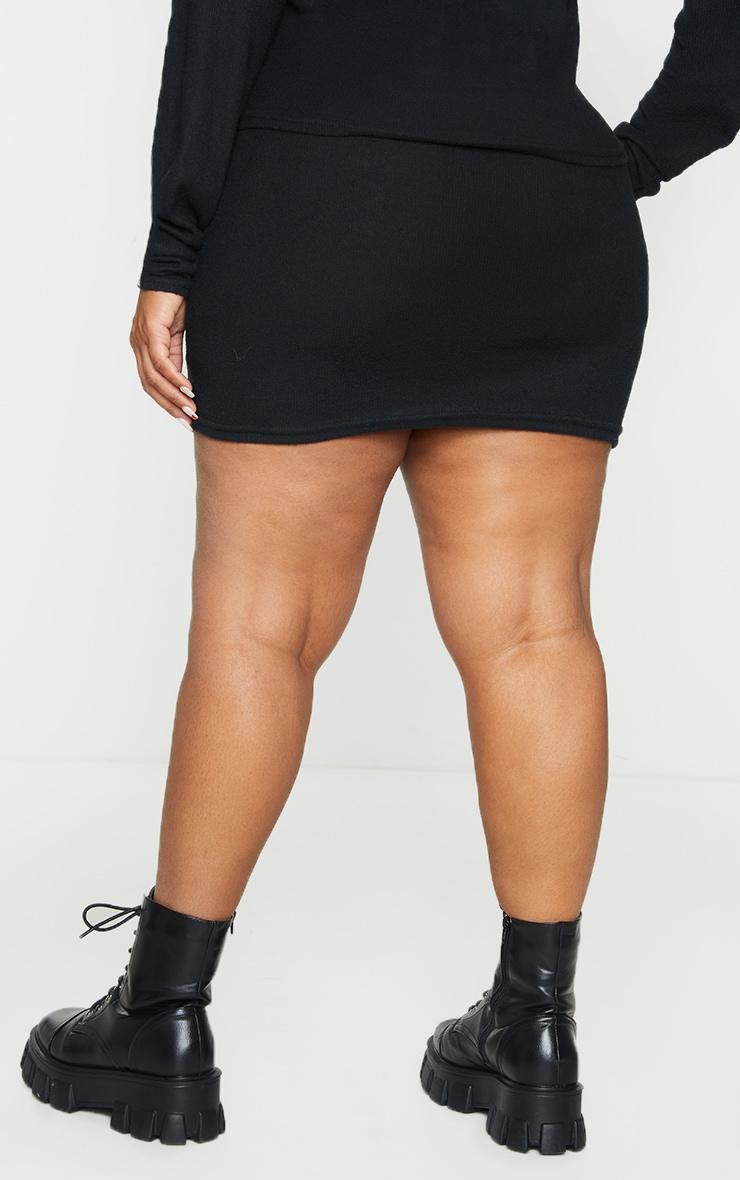 Plus Black Soft Brushed Rib Mini Skirt 3