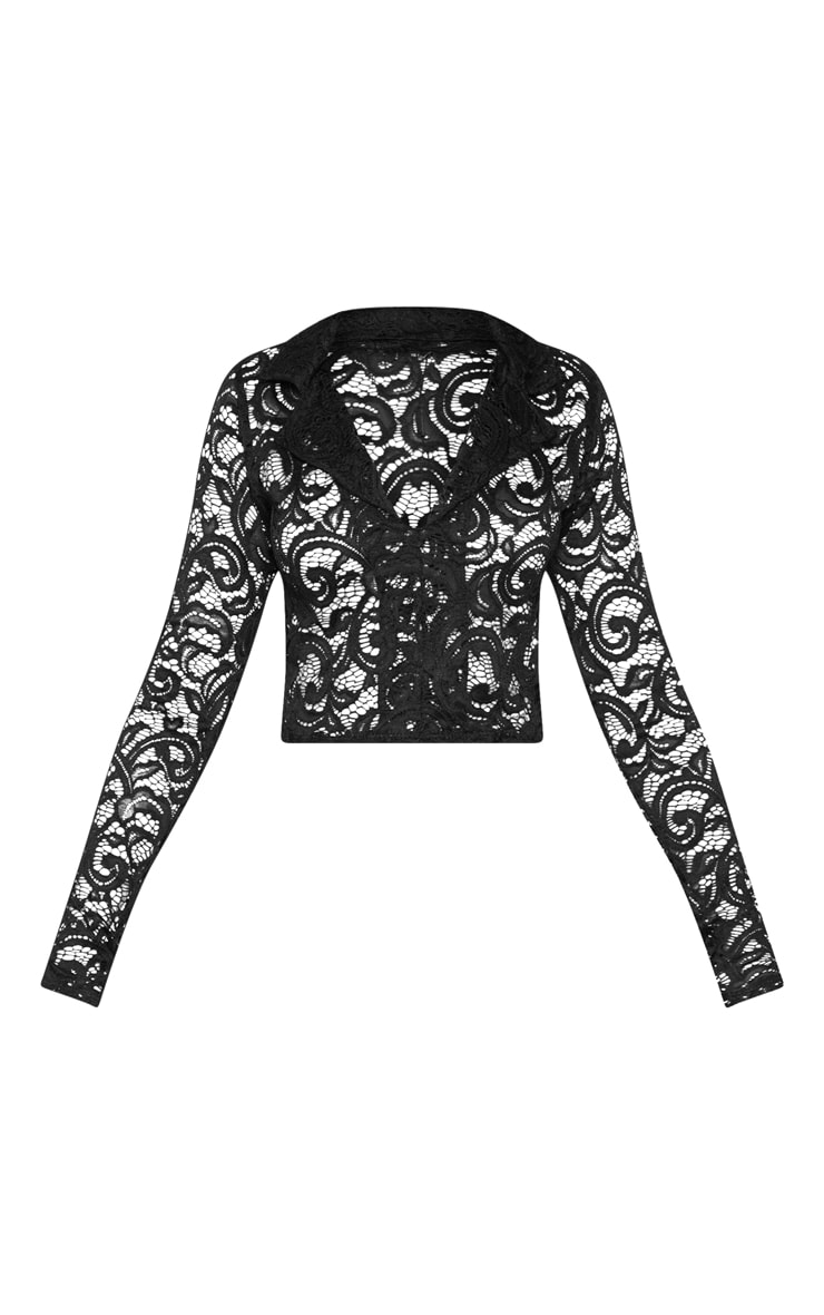 Black Lace Long Sleeve Collar Crop Top  3
