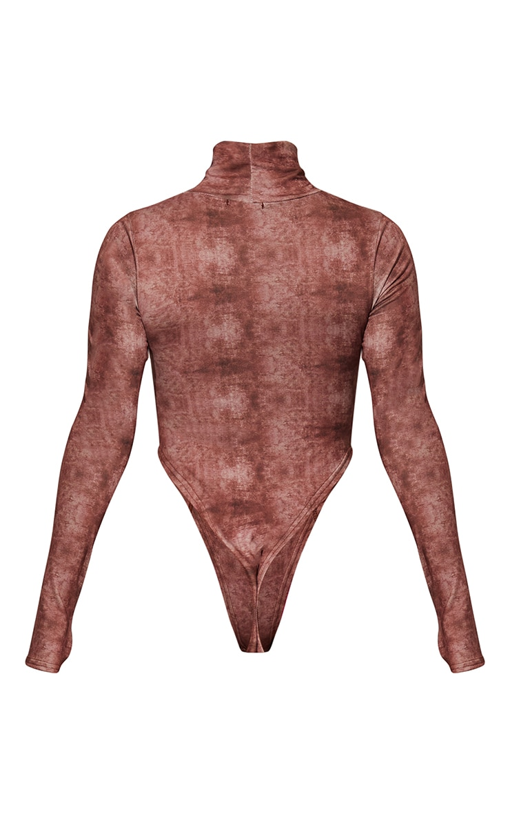 Brown High Neck Acid Wash Cut Out Seam Detail Bodysuit 6