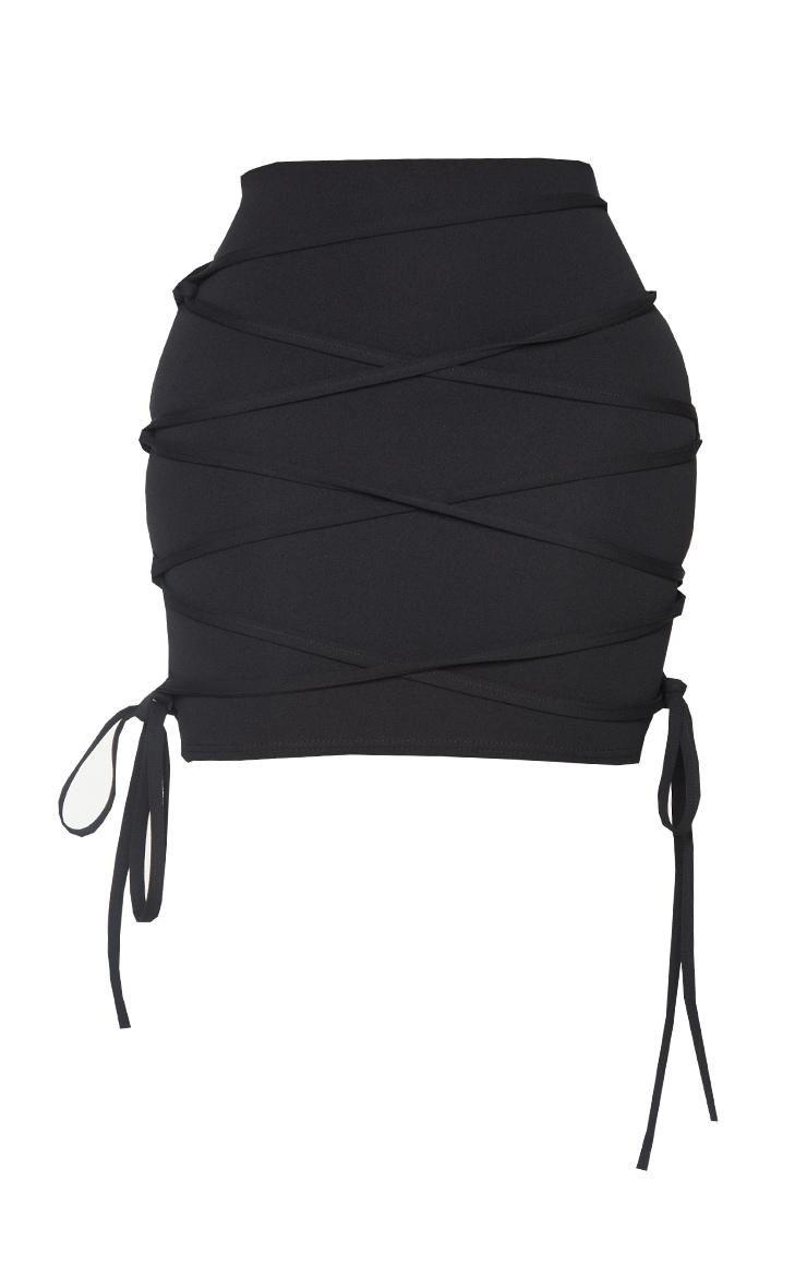Shape Black Extreme Tie Detail Wrap Bodycon Skirt 6