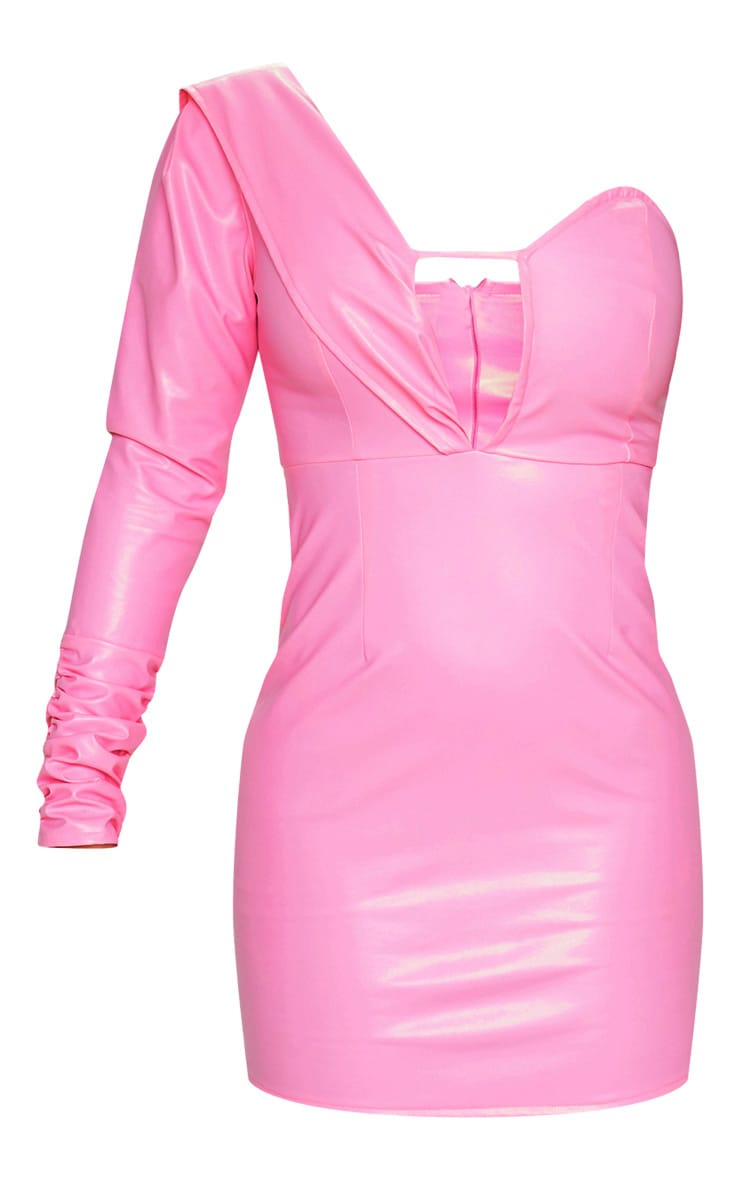 Pink Faux Leather Asymmetric Bodycon Dress 3