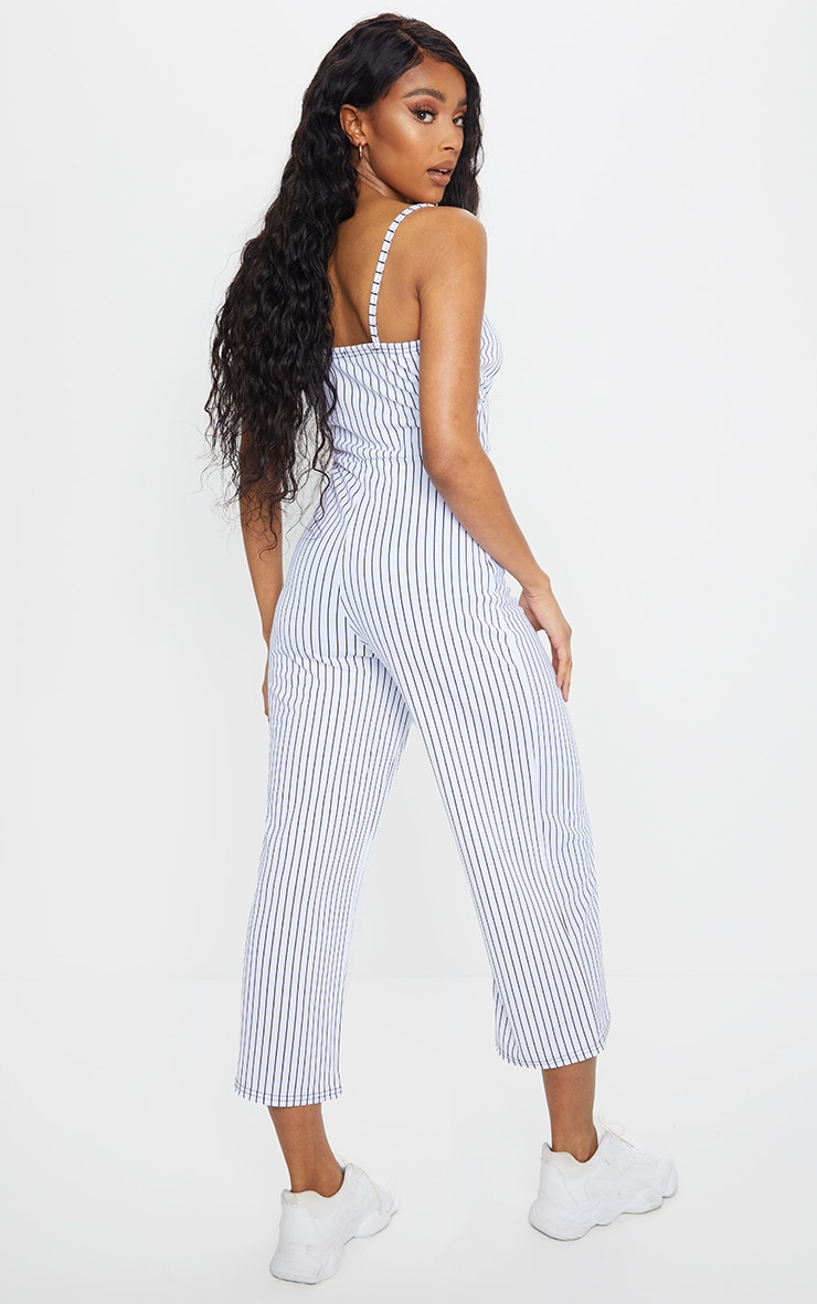 White Pinstripe Ruched Bust Strappy Culotte Jumpsuit 2