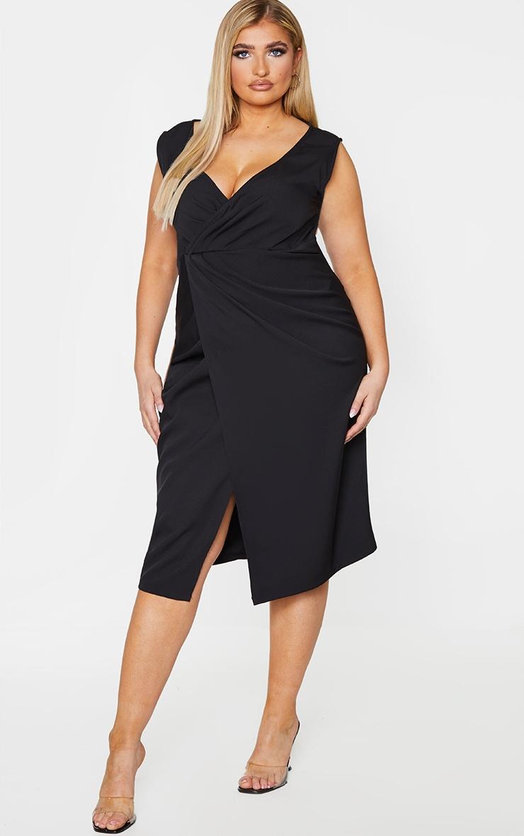 Plus Black Woven Pleat Detail Midi Dress
