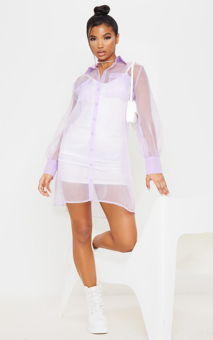 Lilac Organza Pocket Detail Long Sleeve Shirt Dress