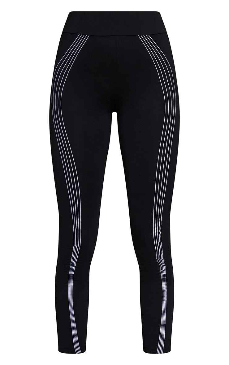 Black Linier Detail High Waist Gym Leggings 5