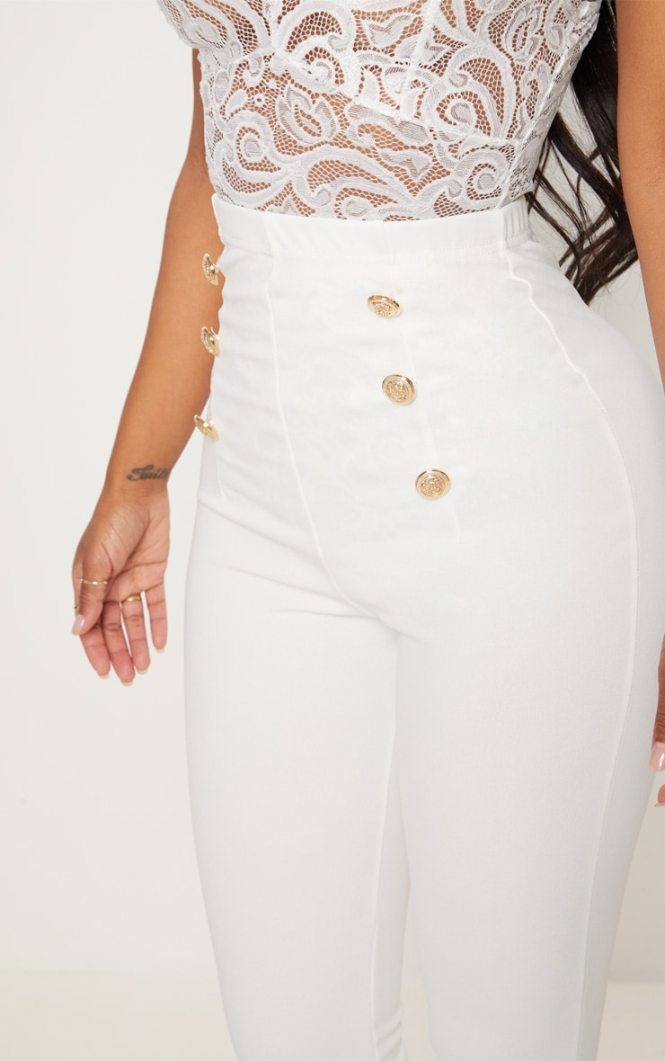 Shape White Military Button Skinny Trousers 4