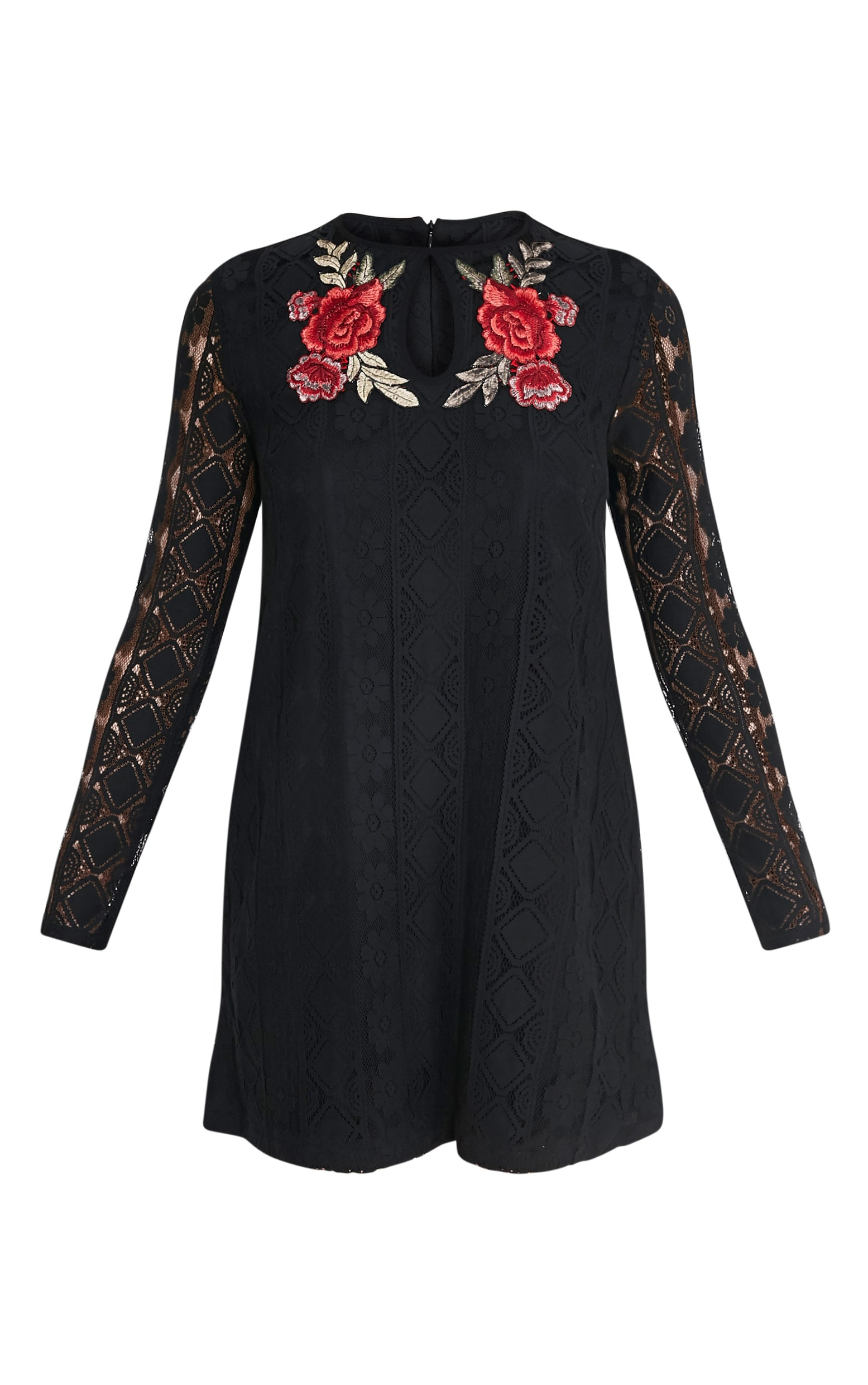 Marney Black Embroidered Detail Lace Shift Dress 3