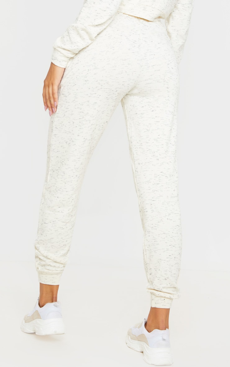 Cream Marl High Waisted Joggers 4