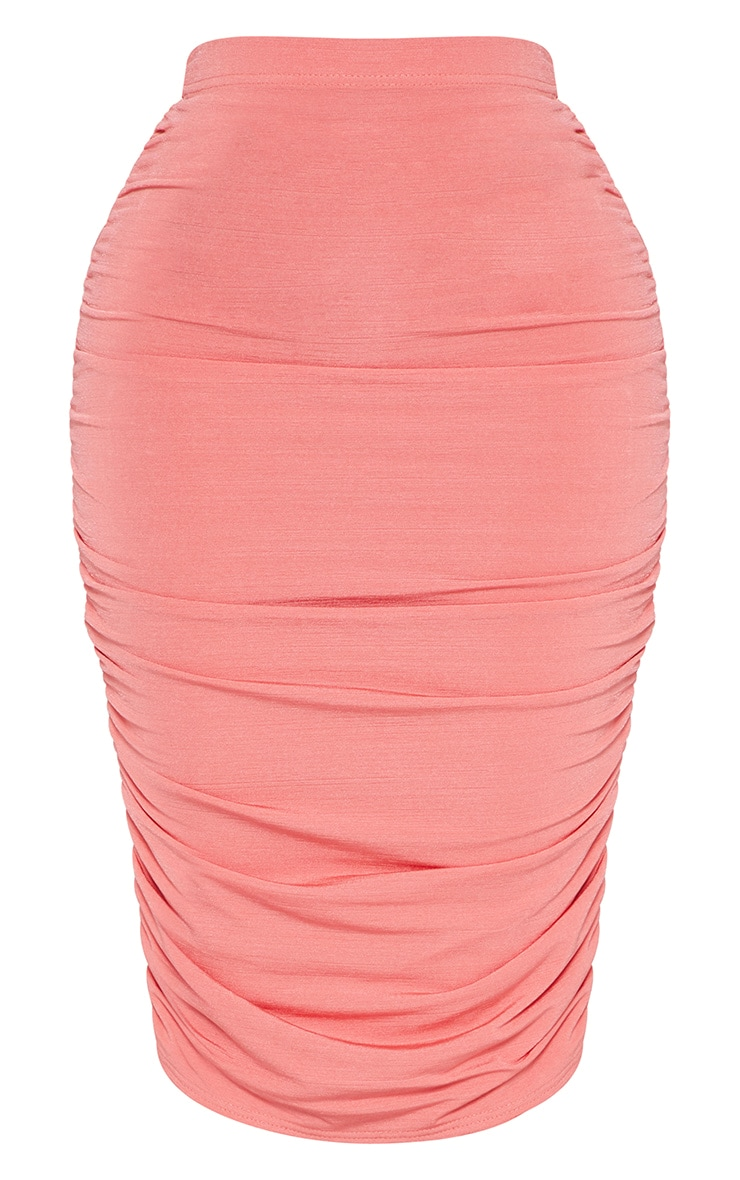 Shape Coral Slinky Ruched Bodycon Skirt 3
