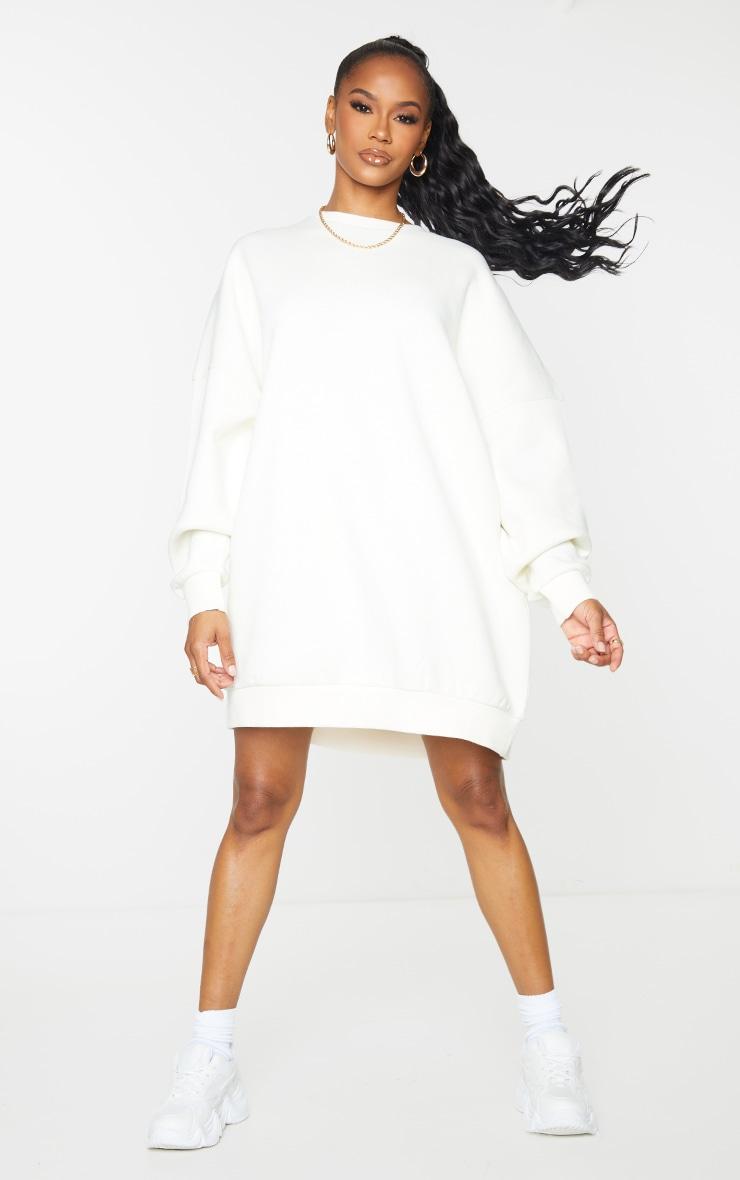 Recycled Cream Wellness Edition Slogan Sweat Jumper Dress 3