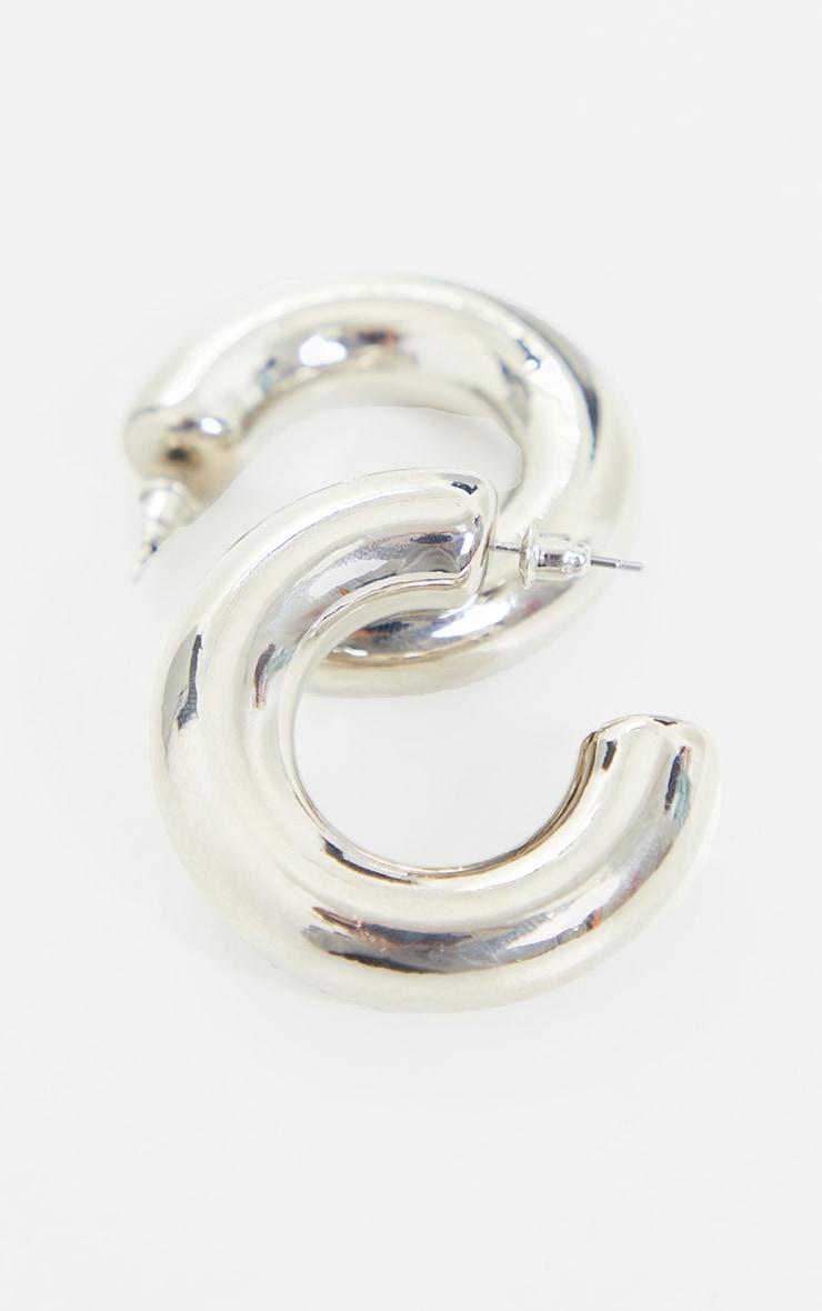 Silver Mini Chunky Hoop Earrings 2