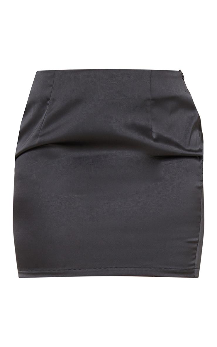 Black Satin Mini Suit Skirt 6