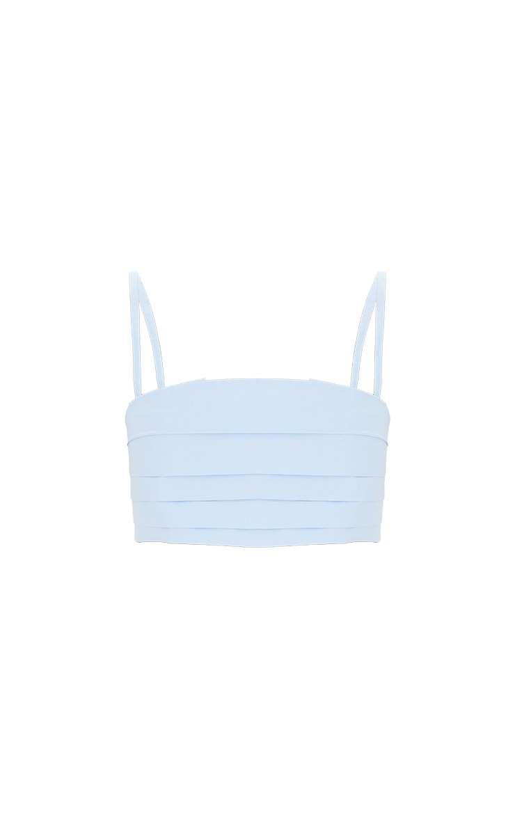 Blue Woven Pleated Bust Crop Top 5